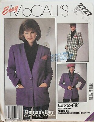 L XL Ladies McCalls Sewing Pattern 3401 Fleece Jacket XS S M