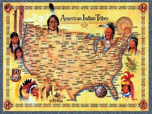 American Indian Tribes United States Map Art Print EBay - Map us indian nations