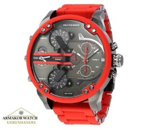 NEU-Original-Diesel-DZ7370-Mr-Daddy-2-0-Multitimer-XL-Herrenuhr-Rot