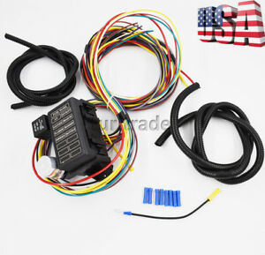usa new 8 circuit fuse 12v universal wire harness muscle car hot rod rh ebay com