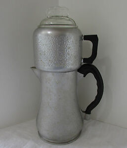 Vintage Guardian Service Hammered Aluminum Drip Coffee Maker Urn Body Glass Lid