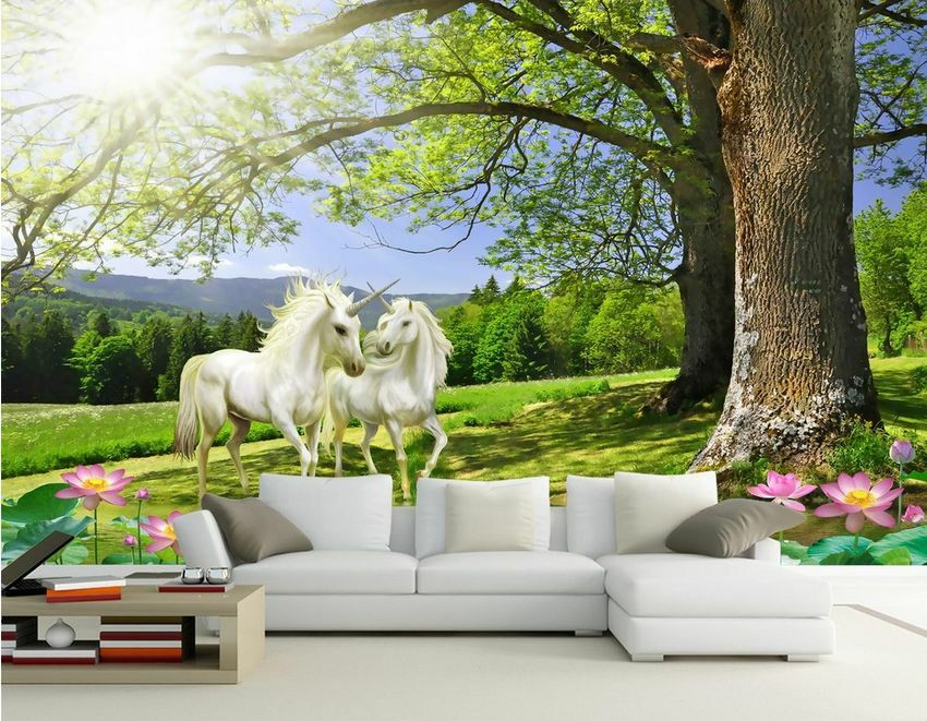 3D tree Weiß horse 1134 Paper Wall Print Decal Wall Wall Murals AJ WALLPAPER GB