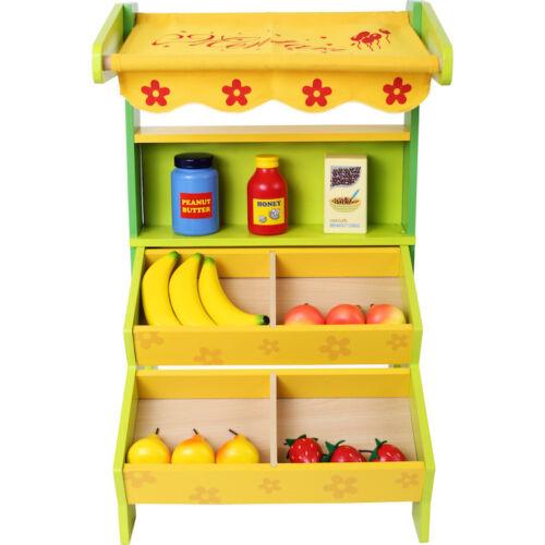 Mercatino bancarella in legno con accessori giocattolo per bambini