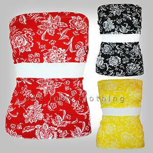 8634c700d6 ladies boob tube bandeau strapless top floral black red yellow white 8 ...