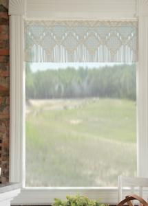 Heritage Lace Café Light Tan DIAMOND FRINGE Window Valance - 48W x 16L