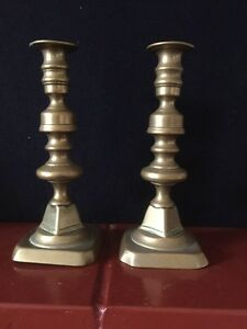 Pair Vintage Brass Candlesticks - Pinner, Middlesex, United Kingdom - Pair Vintage Brass Candlesticks - Pinner, Middlesex, United Kingdom