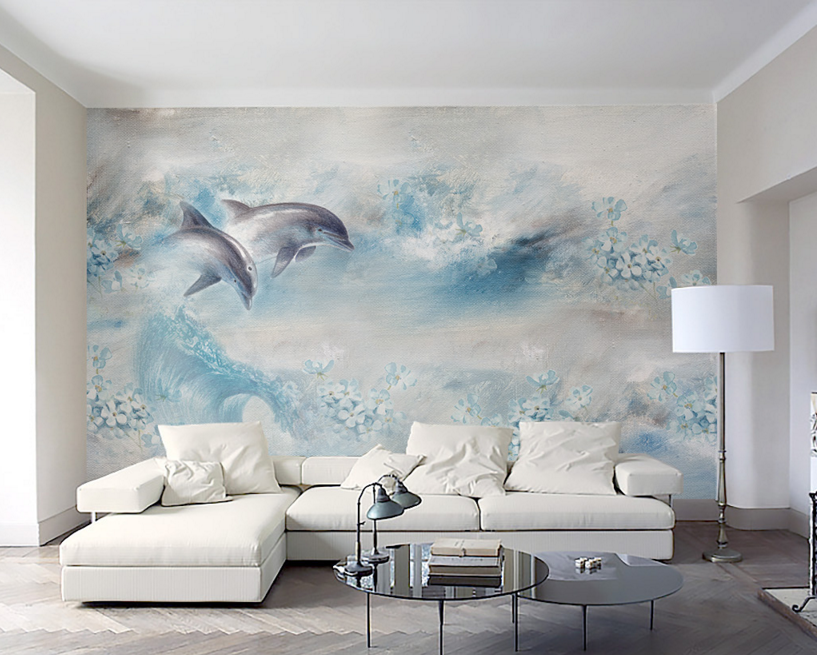 3D Painted Dolphin Bule Paper Wall Print Wall Decal Wall Deco Indoor Murals