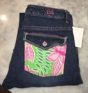 Lilly-Pulitzer-Straight-Leg-Dark-Wash-Jeans-With-Pocket-Embelishment-Size-4