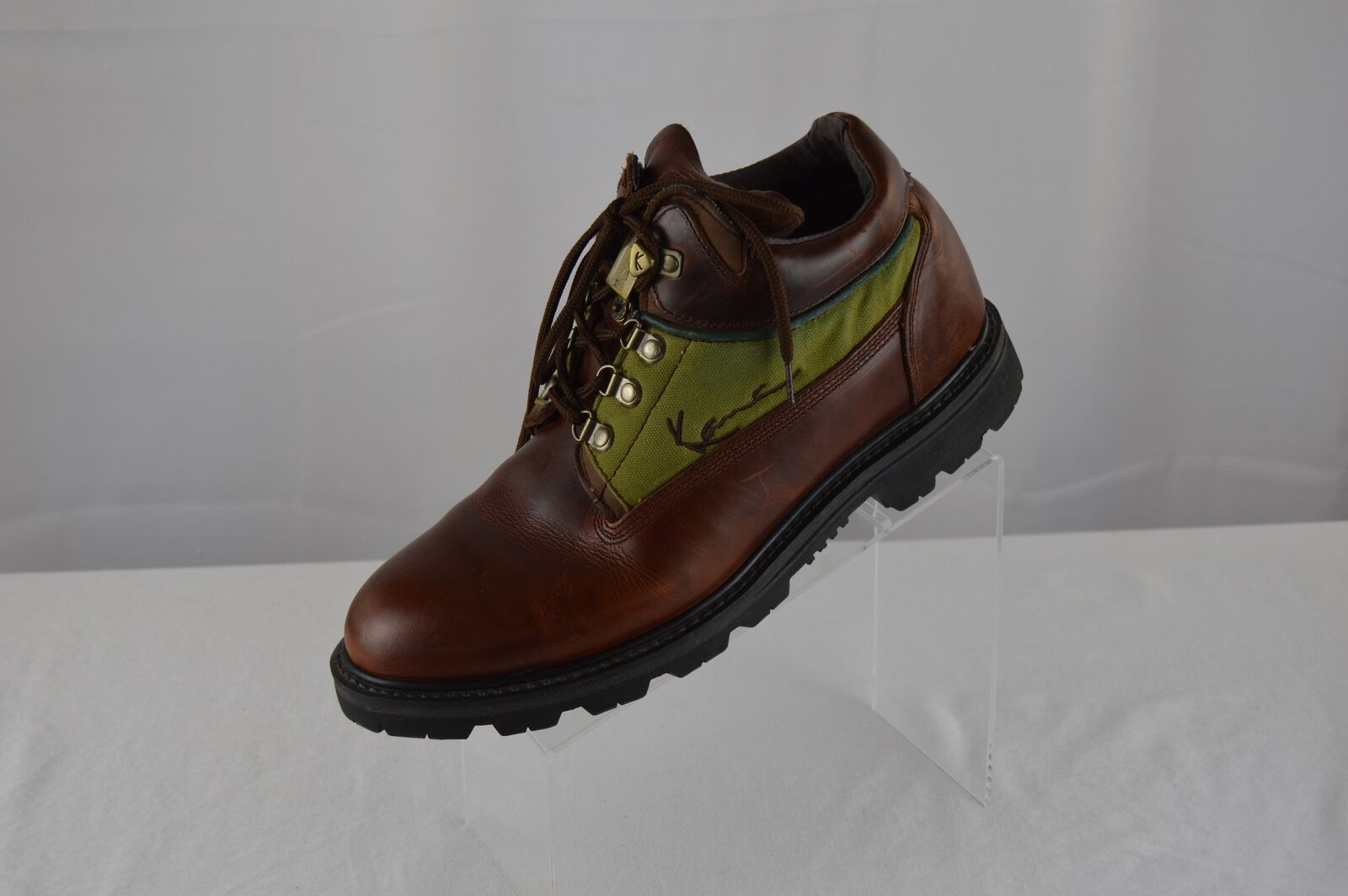 Vintage 90s Karl Kani Leather Boots Size 13 mens Urban rare brown and green z1