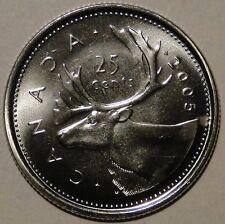 BU UNC Canada 2005 quarter 25 cent 25c regular caribou coin from mint roll