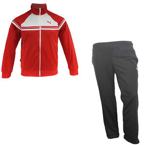 Puma-Tricot-Colorblock-Full-Polyester-Red-White-Tracksuit-Mens-828302-16-UA33