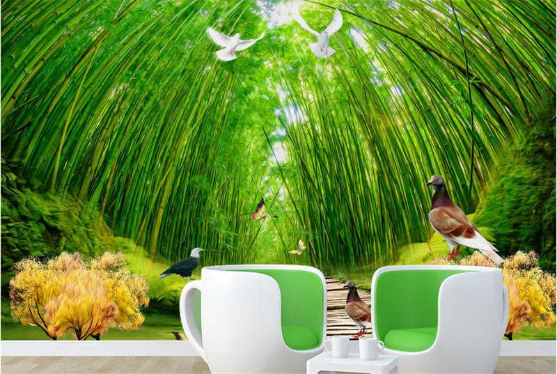 Intense Grün Woods 3D Full Wall Mural Photo Wallpaper Printing Home Kids Decor