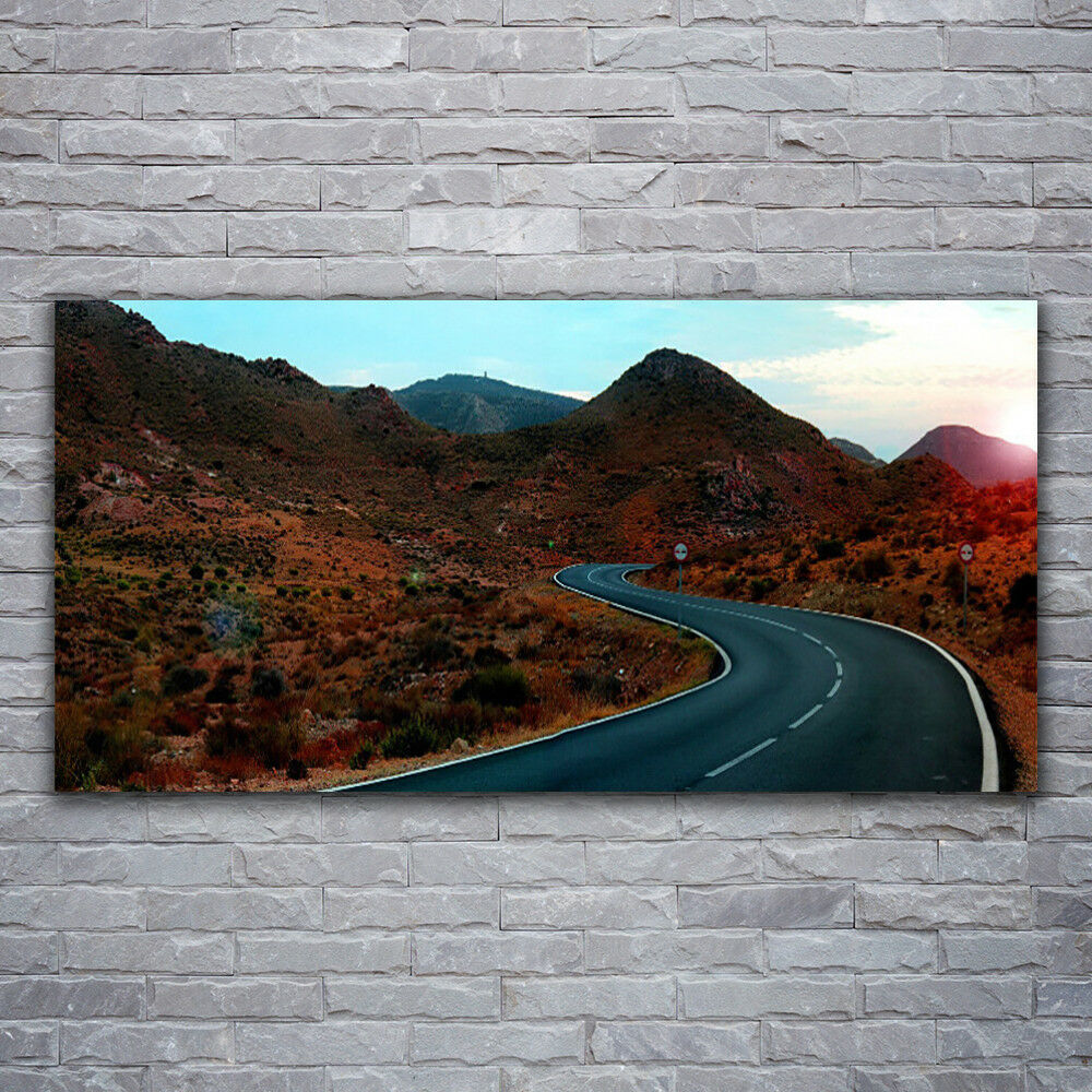 Canvas print Wall art on 120x60 Image Picture Mountain Road Landscape