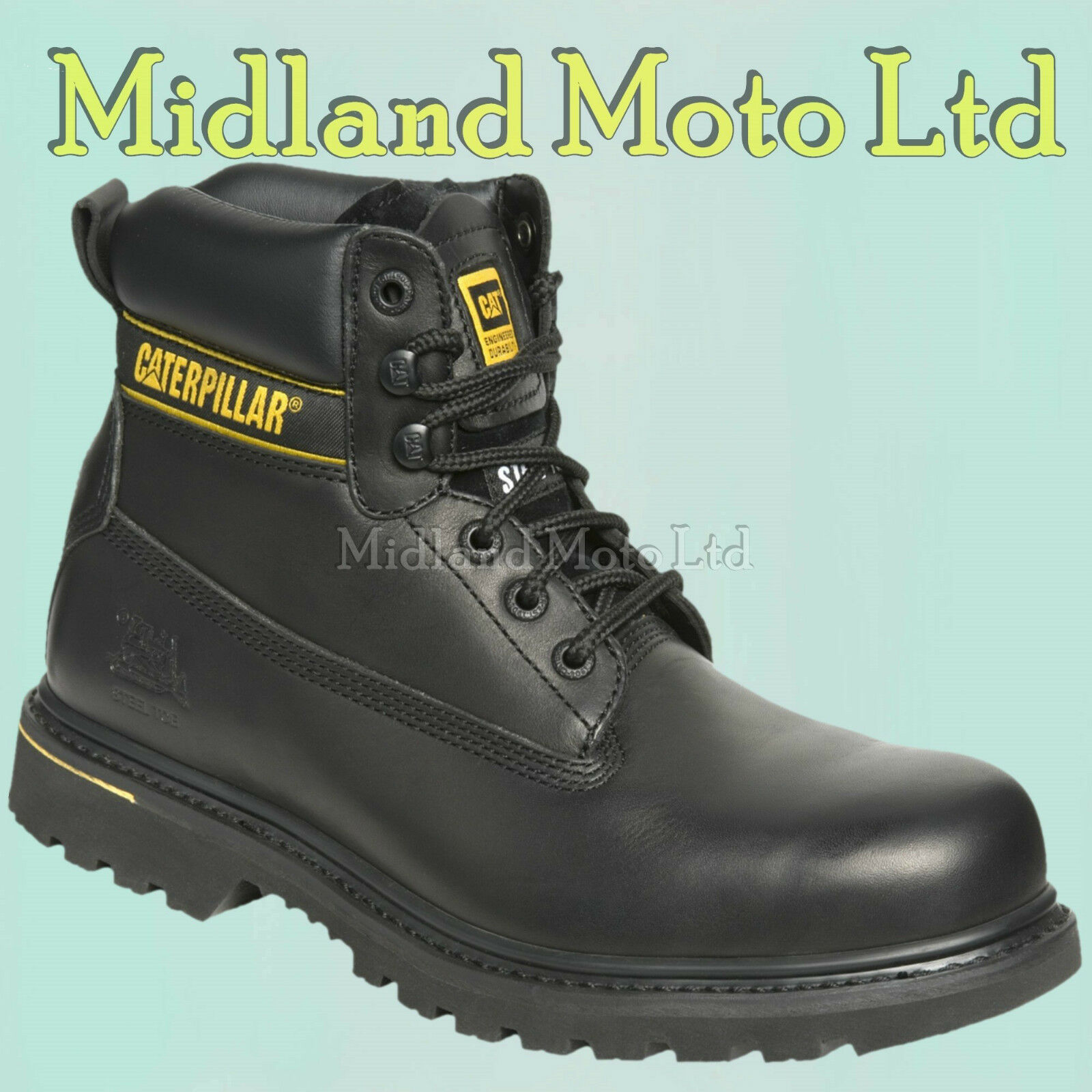 Caterpillar Holton SB Steel Toe Cap Safety Black Leather Boots, CAT, Shoes
