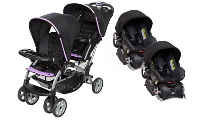 Baby Trend Sit N Stand Double Stroller Two Infant Car Seat Combo Optic Violet