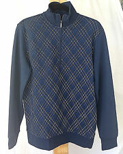 Small Ashworth Pullover Golf Jacket Sweater Quarter-Zip Striped Navy L/S NWT