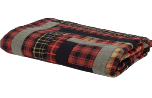 CUMBERLAND QUILT 50x60 THROW :  RED BLACK PLAID RUSTIC LOG CABIN COUNTRY BLANKET