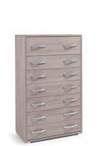 Settimino maxy in legno colore olmo a 7 cassetti moderno