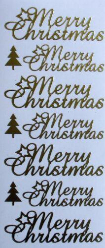 MERRY CHRISTMAS Cursive Tree Festive PEEL OFF STICKERS Cardmaking Sticker