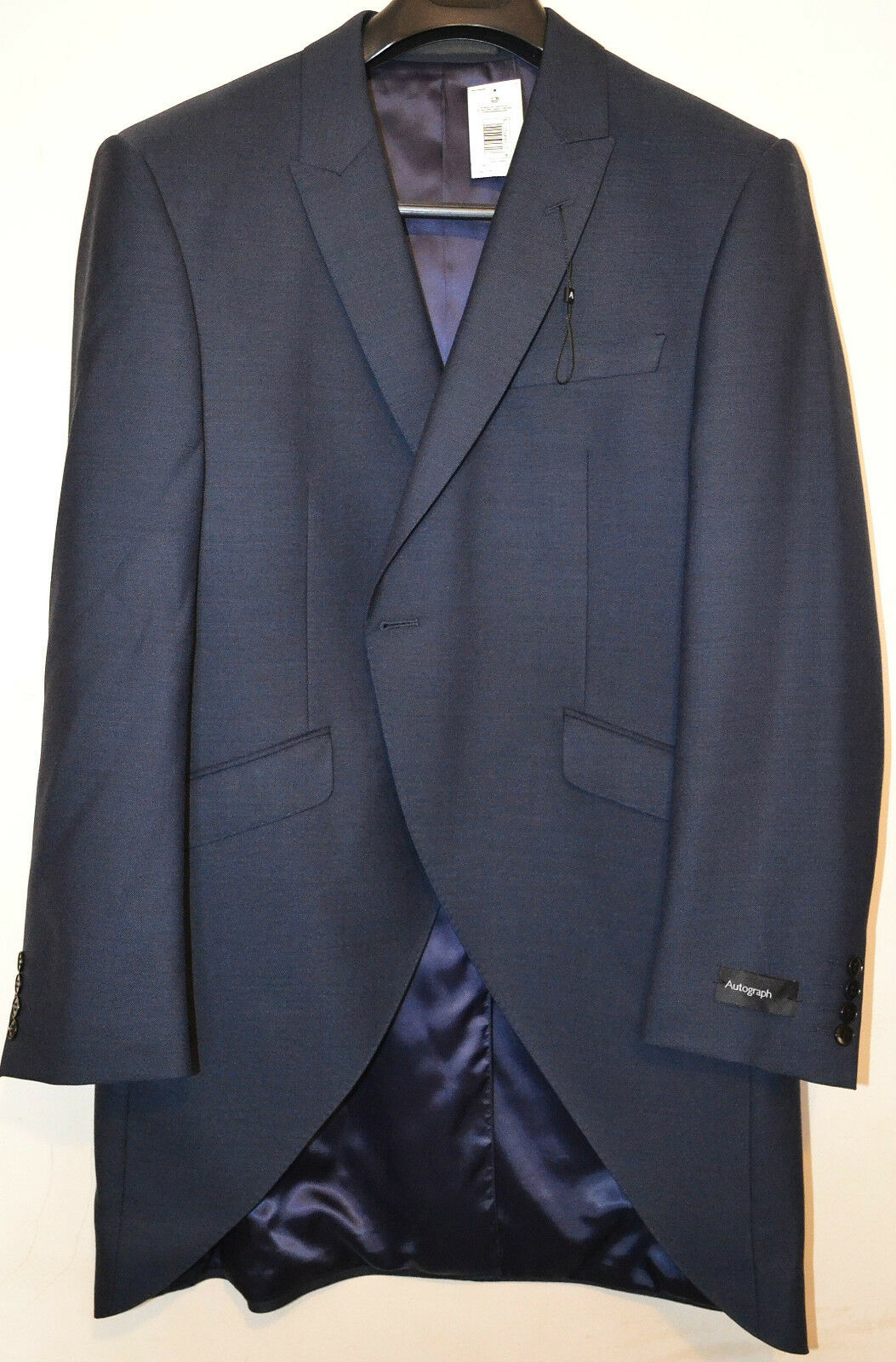 MENS M&S AUTOGRAPH TAILORED FIT WOOL BLEND TAIL COAT SIZE 44 SHORT INDIGO BNWT