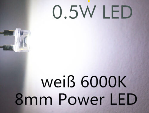 50x 8mm 0.5w High Power LED Strawhat 150ma-White Bianco