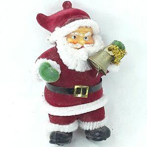 Christmas-Santa-Claus-figure-ornament-decoration-figurine-Flocked-Small-Vintage