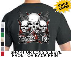 Biker Crâne Ailes Moto American Chopper Homme Court ou Long Sleeve T Shirt