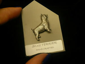 Silky-Terrier-dog-lapel-pin-silver-colour-clutch-back-NEW-1970-039-s-pewter