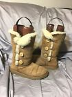 Ugg Australia Bailey Triplet Button Chestnut Winter Boots Youth Size 5 -- 1962