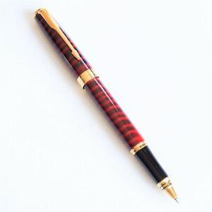BAOER-388-Red-Marble-Rollerball-Pen-Gold-Trim-0-7mm-Black-Blue-Ink-UK