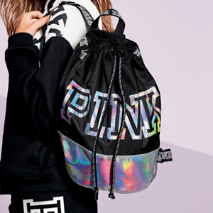 New Victoria's Secret PINK Drawstring Backpack Silver Holo Metallic Black Duffle