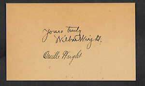 Wright Brothers Autograph Reprint On Genuine Original Period 1900s 3X5 Card