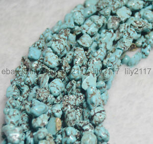 Natural-Turquoise-6-10MM-100-Real-Gemstone-Nugget-Loose-Beads-Strand-15-034-AA