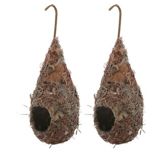 2 Pack Bird House, Hanging Birdhouse Hummingbird Nest Fiber Hand-Woven Roosting