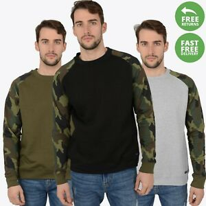 New-Mens-Sweatshirt-Camo-Military-Army-Sleeve-Sweat-Top-Jumpers-Pullover-Jersey