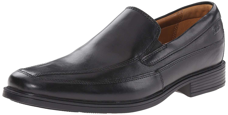 Men's Clarks Collection Tilden Free Slip-On shoes Black Leather 26110312 Wide