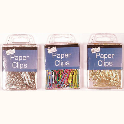 Box of 120 Paper Clips in Assorted Colours, Gold or Silver