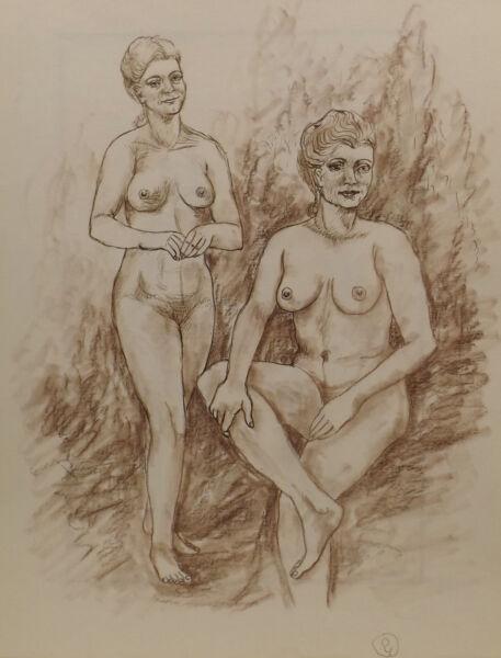 """"""" 2 Chica/mujeres Desnudo No.62"""" Pintura / Técnica Mixta. Atribuido Wedekind"""