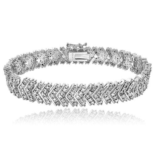 0.10 Ct TDW Diamant Chevron Bracelet En Ton Argent Laiton