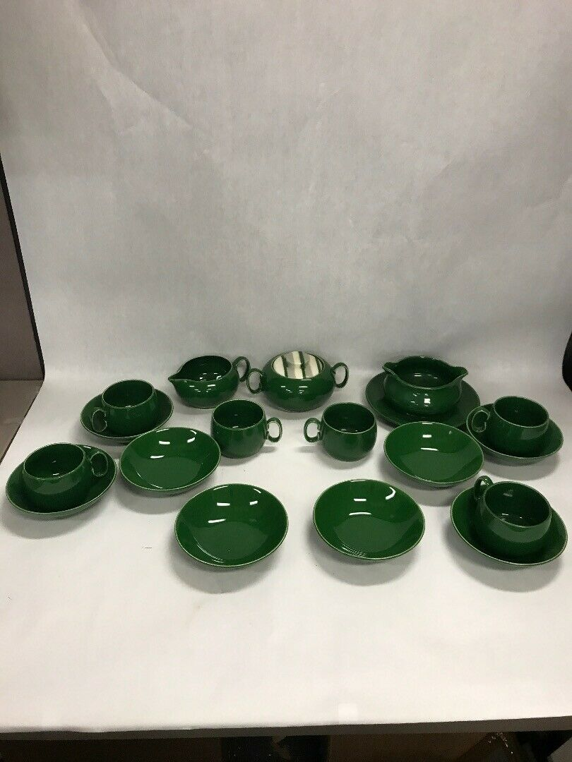Vintage Dishes Lot 17  Green  Mid Century Pottery sugar creamer gravy boat cups