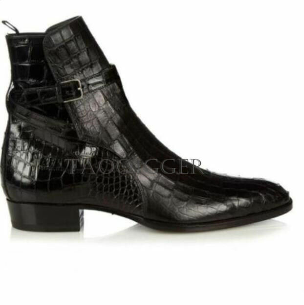 Men's Crocodile skin REAL LEATHER Buckle Ankle Boots High Top Black shoes Casual