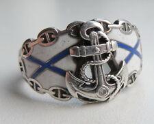 Ring mit dem Anker und der Andrejewski Fahne. Silber 84. Zaristisches Russland