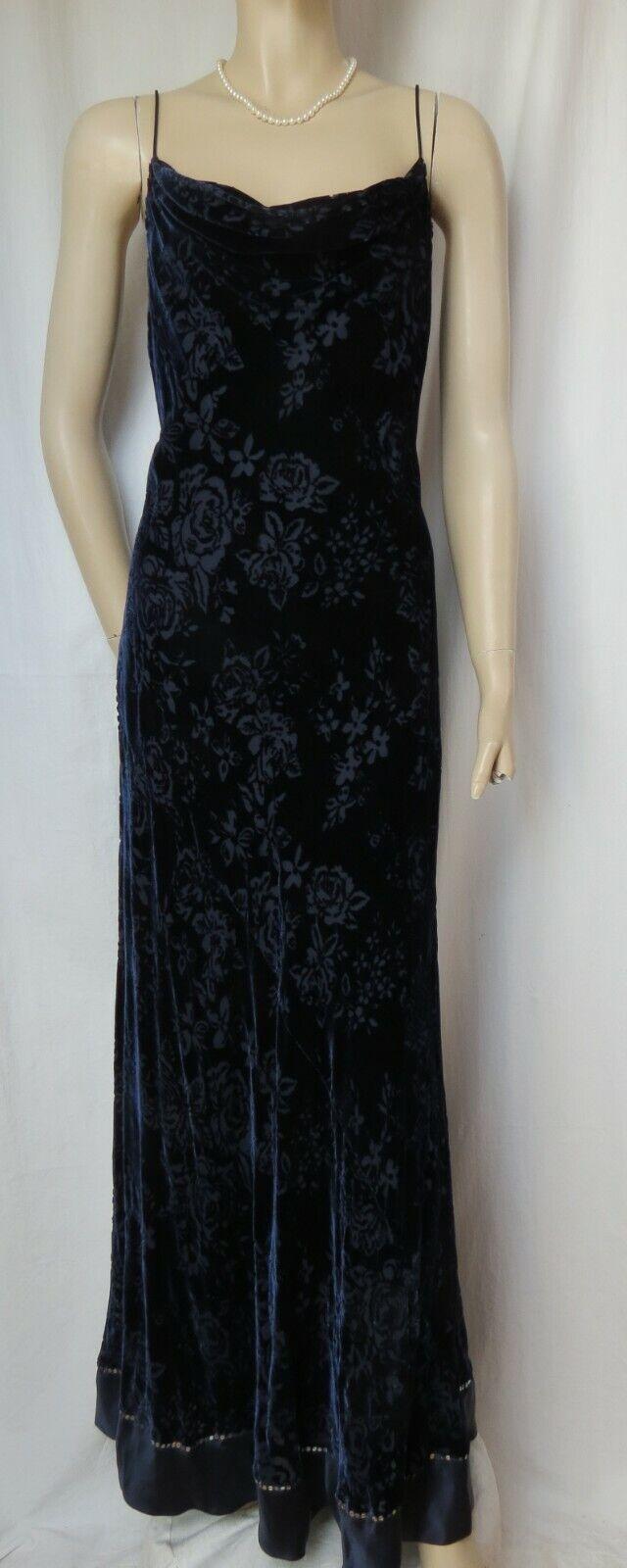 b5f540b20146f6 Abendkleid 42 Samt dunkelblau Hochzeit lang Ballkleid Monsoon blau Abiball  Seide nutabo2185-neue Kleidung