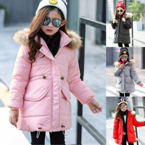 6bda540c8 Child Kids Girl Winter Warm Fur Hooded Coat Thick Jacket Cotton ...