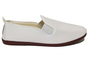 Flossy Mens Womens White Canvas Comfy