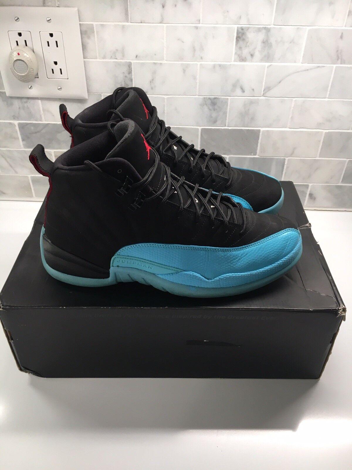 7e73c06670e8 Nike Air Jordan XII 12 Retro Black Gamma Blue 130690-027 Retro Size-8.5  P8 N305 4f9bee