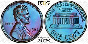 1961-1C-PCGS-PR67BN-Lincoln-67-Sapphire-Toned-TrueView-RicksCafeAmerican-com