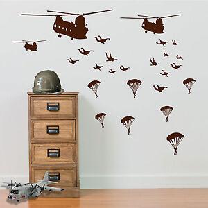 Paracadute-Militare-Soldati-AEREI-ELICOTTERI-ESERCITO-uomini-Adesivo-Parete-Decalcomania-A5