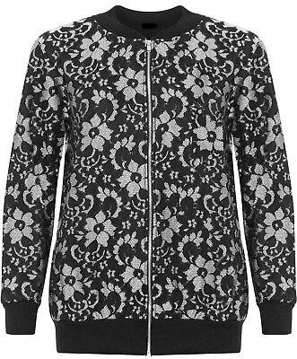Ladies Plus Size Khaki Black Floral Print Long Sleeve Zip Bomber Jacket 14-28