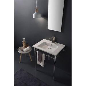 Consolle In Ceramica Per Bagno.Dettagli Su Lavandino Lavabo Bagno Sospeso O Su Consolle Design Etra In Ceramica 2 Misure